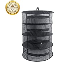 "Herb Drying Rack Net 4 Layer Herb Dryer Black Mesh Hanging Dryer Rack with Zipper ( 31.5""x24"")"
