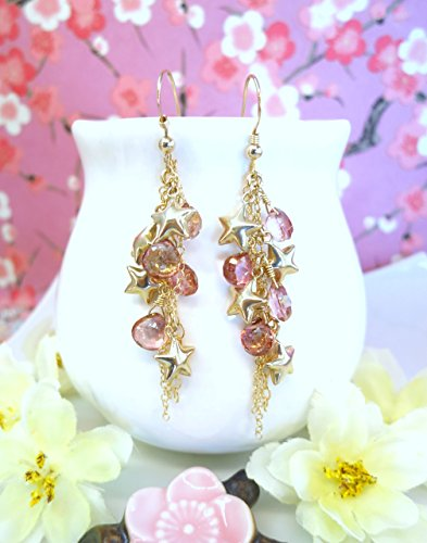 gold-star-cluster-pink-mystic-quartz-cluster-tassle-earrings-wonder-woman-star-cluster-earrings-july