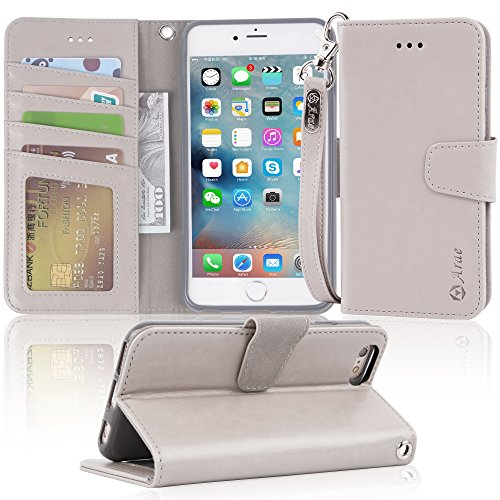 Arae wallet case for iPhone 6s Plus / iPhone 6 plus [Kickstand Feature] PU leather with ID&Credit Card Pockets For Iphone 6 Plus / 6S Plus 5.5 (not for 6/6s) (Grey)