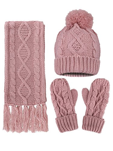 3PC Cable Knit Gloves Scarf Beanie Hat Set, Pink ()