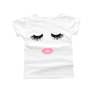 14e37f285b7 Amazon.com  Kids Tales Baby Girls Eyelashes Lips Short Sleeve BFF ...