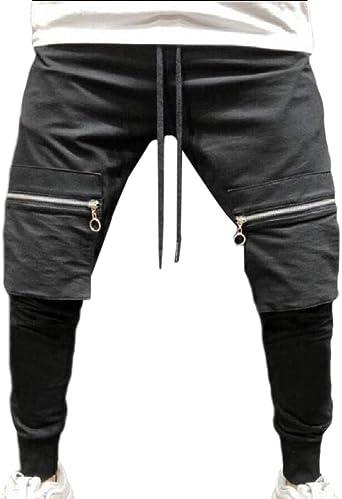 dahuo Pantalones de Hombre Pantalones con Cremallera Tobillo ...