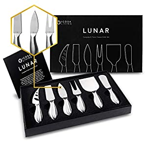 LUNAR Premium 6-Piece Cheese Knife Set – Complete Stainless Steel Cheese Knives Collection (Gift-Ready)