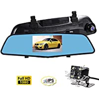 SENDOW Mirror Dash Camera 4.5 Inch IPS Touch Screen Full HD Resolution 6G Glass Dual Lens with Vehicle Dashboard Mirror Rearview Backup Camera Motion Detection Parking Mode Loop Recording