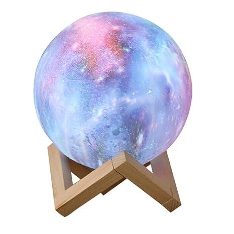 Lisnfmbs 3 D Printing Moon Starry Sky Lamp Childrens Night Light