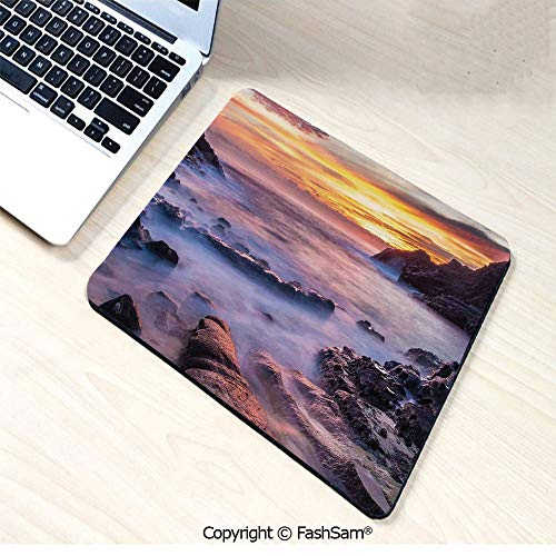 Desk Mat Mouse Pad Colorful Sunrise at Halona Cove Eternity Beach on Oahu Foggy Coastline Seascape for Office(W7.8xL9.45) -