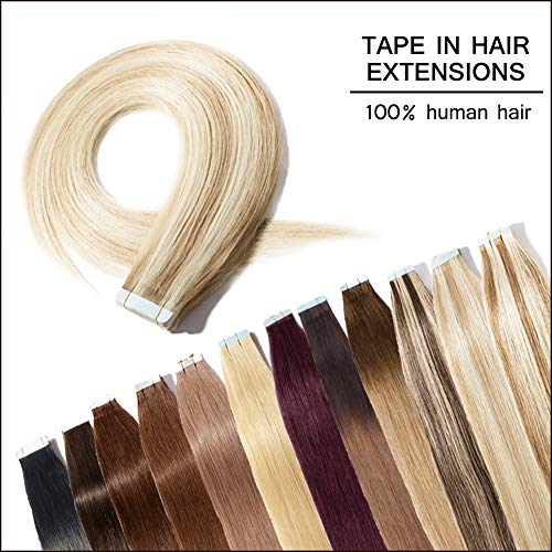 18 inch 100g/40pcs Seamless Skin Weft Tape In Hair Extensions Ash Blonde Mixed Bleach Blonde #18&613-100% Straight Unprocessed Virgin Remy Human Hair Professional Tape on +20pcs Free Tapes