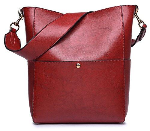 Retro Purse Hobo Leather Dreubea Shoulder Red Tote Wine Handbag Bag from Women's Bucket OCqBxdfww