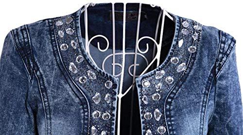 Cerniera Giacca Blau Corto Slim Outwear Giovane Diamante Elegante Donna Moda Autunno Cute Maniche Fit Scollatura Con Jeans Primaverile Jacket Chic HntwExvg