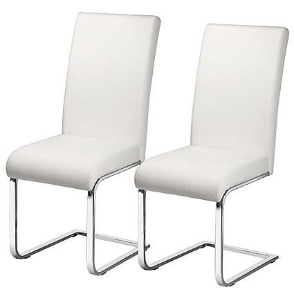 Sedie Moderne Pelle E Acciaio.Yaheetech Set 2 Sedie Sala Da Pranzo Moderne Bianche Cucina Ufficio In Ecopelle E Acciaio Cromato