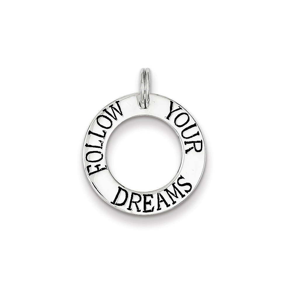 Mireval Sterling Silver Follow Your Dreams Circle Charm (22 x 10mm)