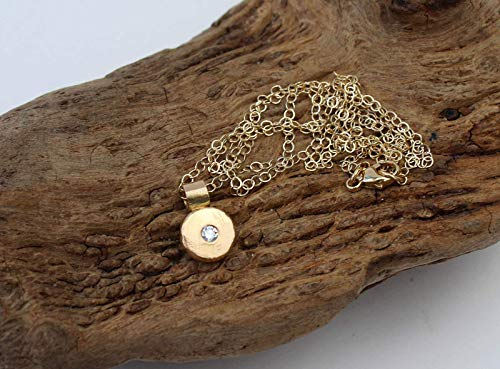 14k Gold Diamond Necklace. Small Gold Diamond Pendant. Gold Nugget - Necklace Hammered Nugget