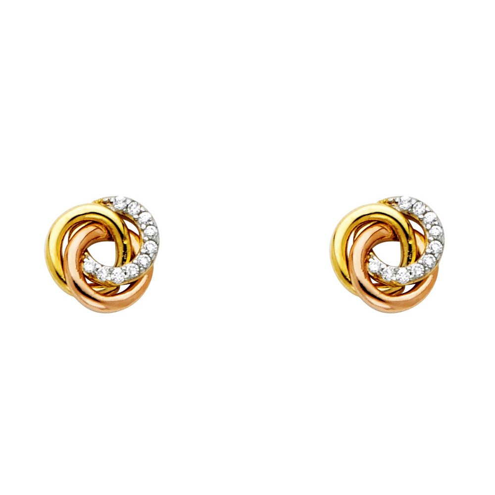 14K Solid Yellow Gold Cubic Zirconia Love Knot Fancy Earring with Push Back by Paradise Jewelers (Image #1)