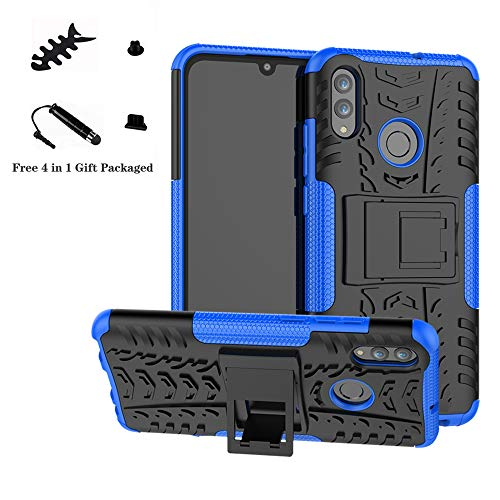 Honor 10 Lite/P Smart 2019 case,LiuShan Shockproof Heavy Duty Combo Hybrid Rugged Dual Layer Grip with Kickstand for Huawei Honor 10 Lite/P Smart 2019 Smartphone (Not fit P Smart 2018),Blue (Best Large Smartphone 2019)