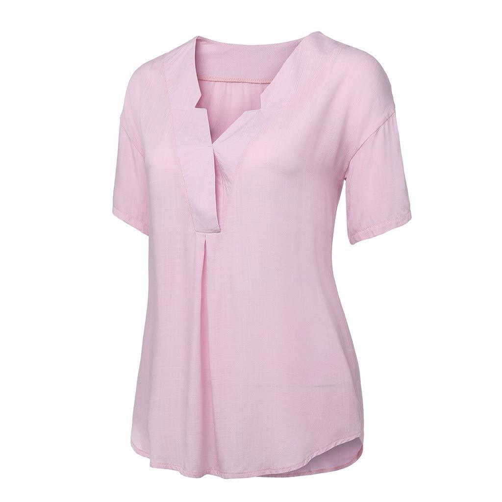 Womens Star Shape V Neck Shirts Long Sleeve Linen T-Shirt Casual Blouse Tops