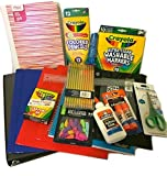 School Supplies Bundle Package for Back to School - Folders, Binder, Erasers, Notebook, Crayons, Glue, Pencils, Pencil Pouch, Ruler, Pencil Sharpener, Scissors, Markers