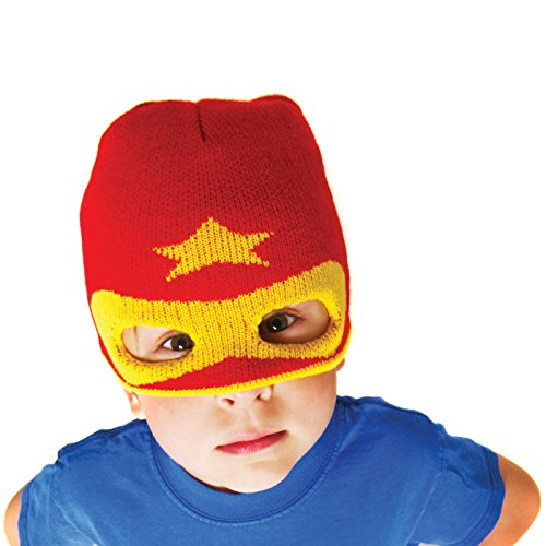 Boys Super Hero Beanie Hat Red - Neon Eaters - Knit Winter Hat Mask, Fun, Toque