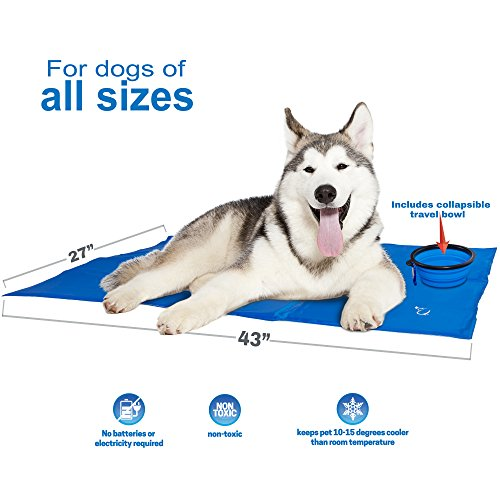 Unleashed Pets Self Cooling Pressure Activated Pet Cooling Gel Pad Mat + Collapsible Food Bowl for Dogs, Cats, all Pets, Non-Toxic, Perfect for Travel, Floor, Couch, Car Seat, Pet Bed & Kennel (LG)