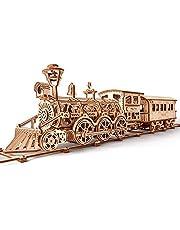 Wood Trick Träleksak tågset med järnväg – lokomotivtåg leksak mekanisk modell – 3D träpussel, monteringskonstruktion för hjärnan, bästa gör-det-själv-leksaken