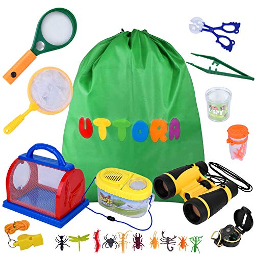 UTTORA Outdoor Exploration Set, Outdoor Explorer Kit Gifts Toys Kids Binoculars Set, Suggest for Boy and Girl, Kids Telescope Adventure Kit, Children Outdoor Educational Kit
