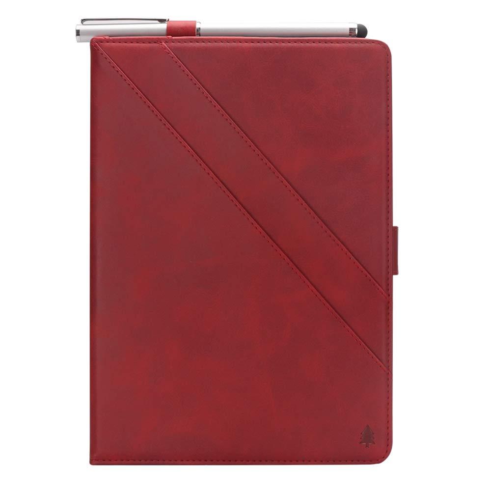 Samsung Galaxy Tab A 8.0インチ T387ケース 高級本革ケース スタンド付き フリップカバー ハンドメイド Samsung Galaxy Tab A 8.0インチ T387用 (レッド)   B07LCH4PQH