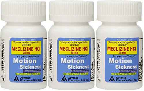 Meclizine 25 mg Generic For Bonine Chewable Tablets for Prevention of Motion Sickness and Anti-Nausea 100 Tablets per Bottle Pack of 3 Total 300 Tablets