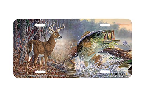 Airstrike Hunting and Fishing License Plate Deer and Bass Front License Plate Made in USA (Made of Metal)-5394