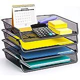 4 Pack - Simple Trending Stackable Office Desk Supplies Organizer, Desktop File Document Letter Tray Holder Organizer, Black