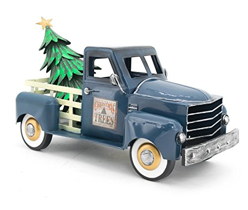 (Zaer Ltd. Metal Holiday Truck with a Removable Christmas Tree (Blue))
