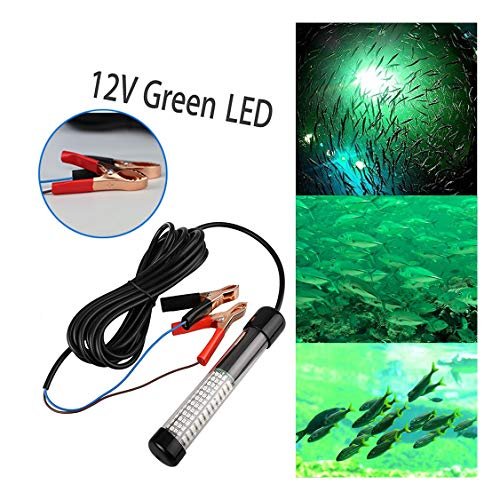 (Jeeke 12V LED Bait Fishing Light Fish Finder LED Lamp Boat LED Submersible Underwater Light, 180 LEDs 360° of Light Output Fish Finding System, Fish Attractor (Black))
