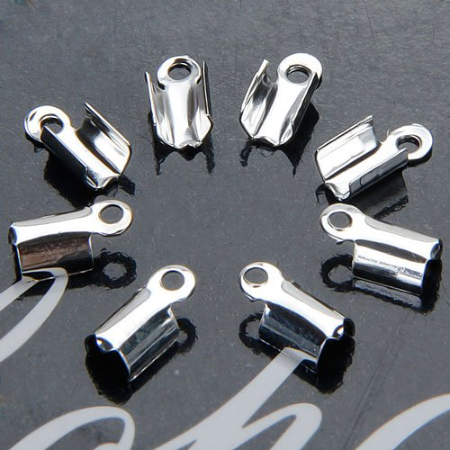 Fityle 100 Pcs Jewelry Make Silver Plated Folding Crimp - 100 Pcs Silver Plated