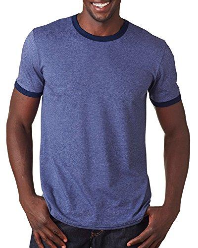 Anvil Adult Lightweight Ringer T-Shirt, Hthr Blue/Nvy, Large