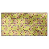 Lotus Love Yellow Rectangle Tablecloth: Large Dining Room Kitchen Woven Polyester Custom Print