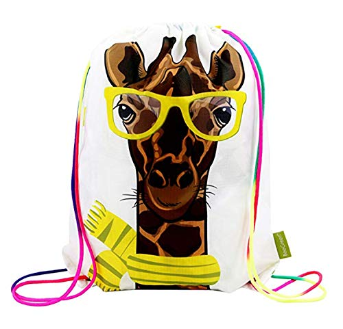 Giraffe Drawstring Backpack Bag for Kids Boys Girls Teens Birthday, Gift String Bag Gym Cinch Sack for School and Party