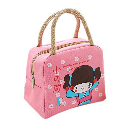 Ospard Insulation Lunch Bag Picnic Cooler Bag for Kids BWWJ-6515 Pink