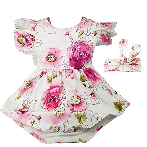 Hollyhorse Newborn Baby Girl Clothes & Headbands (12-24M, Pink Floral)