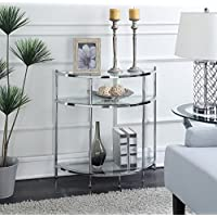 Convenience Concepts Royal Crest Entryway Table, Chrome & Glass