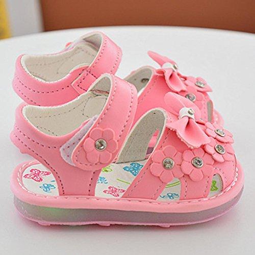 Hunpta Kinder LED Bowknot Mädchen Blume Schuhe Prinzessin Mode Single Schuhe Sommer Mädchen Sandalen Rosa