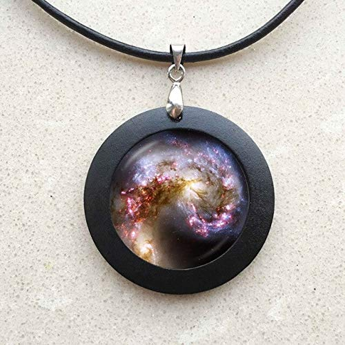 (Black Nebula Helix Pendant Necklace| Nebula Jewelry | Galaxy Fish Black Wood Necklace | Helix Nebula Charm Aquarius Necklace (13))