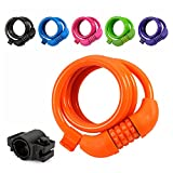 Titanker Bike Lock, 4ft Bike Locks Cable Coiled Secure Resettable Combination/Keys Bike Cable Locks with Mounting Bracket, 1/2 Inch Diameter (Orange)