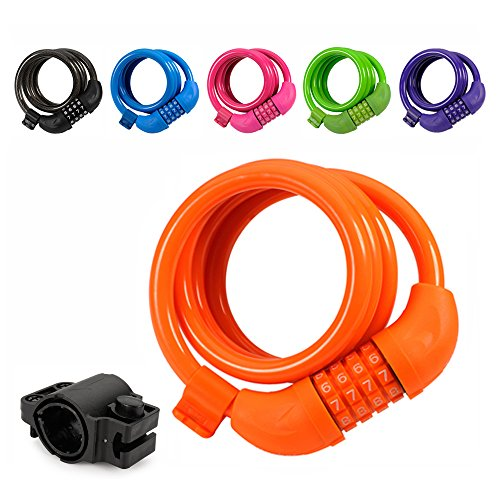 Titanker Bike Lock, 4ft Bike Locks Cable Coiled Secure Resettable Combination/Keys Bike Cable Locks with Mounting Bracket, 1/2 Inch Diameter (Orange) - Bike Chain Lock
