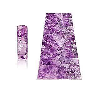 YOGA DESIGN LAB   The HOT Yoga Towel   Premium Non Slip Colorful Towel   Designed in Bali   Eco Printed + Quick Dry + Mat Sized   Ideal for Hot Yoga, Bikram, Ashtanga, Sport, Travel! (Quartz)