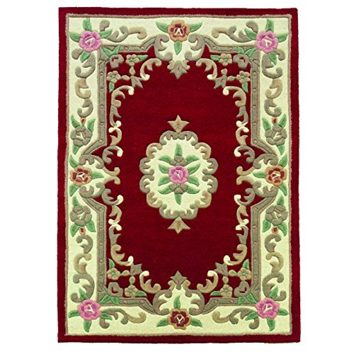 Tufted Aubusson Rug (Traditional Original Classic Aubusson Floral 100% Wool Hand Tufted Chinese Rug, Red -120 x 180cm by eRugs)