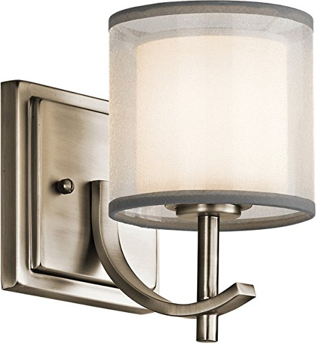 Kichler 45449AP Tallie 7.5'' Satin Etched White Wall Sconce in Antique Pewter