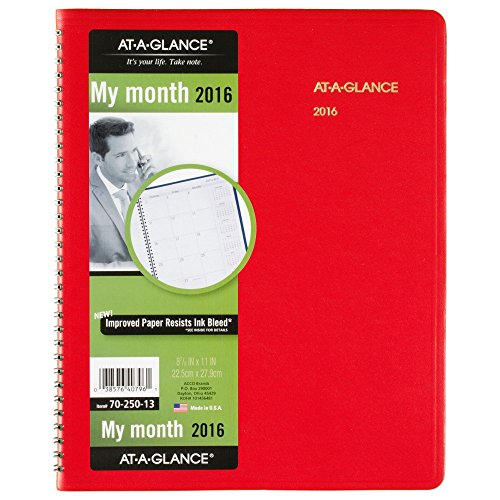 - AT-A-GLANCE Monthly Planner 2016, Fashion Color, 15 Months, 9 x 11 Inch Page Size, Red (7025013)