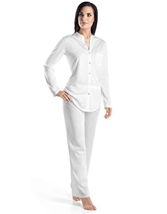 Hanro Cotton Deluxe White Long Sleeve Pyjamas X-Large