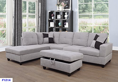 Beverly Fine Furniture F121A Left Facing Linen Russes Sectional Sofa Set with Ottoman, LIGHT GREY Left Sectional
