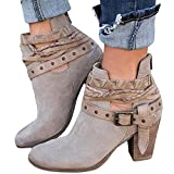 Women's Ankle Buckle Booties V Cut Stacked Heel Back Zipper Bohemia Weave Vintage Boots