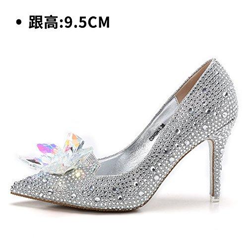 Boda HUAIHAIZ Silver de de Rojo Botas Tacón Zapatos 5 de Noche Zapatos Mujer de Cristal Zapatos Tacones 9 Hembra Zapatos Nupcial cWrfrpg
