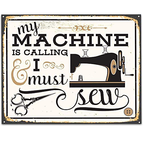 My Machine Is Calling and I Must Sew - 11x14 Unframed Art Print - Great Apparel/Accessories Manufacturer Office Decor/Sewing Factory Decor from Personalized Signs by Lone Star Art